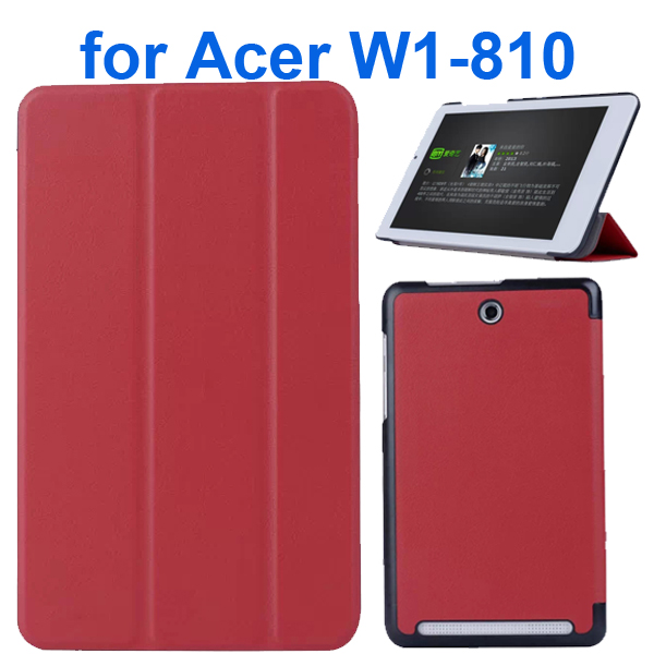 Karst Texture 3 Folding Pattern Flip Leather Case for Acer Iconia Tab 8 W1-810 (Magent)