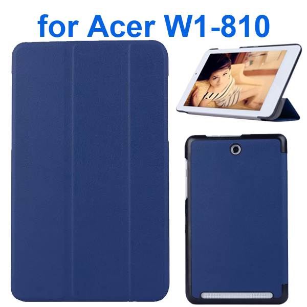 Karst Texture 3 Folding Pattern Flip Leather Case for Acer Iconia Tab 8 W1-810 (Blue)