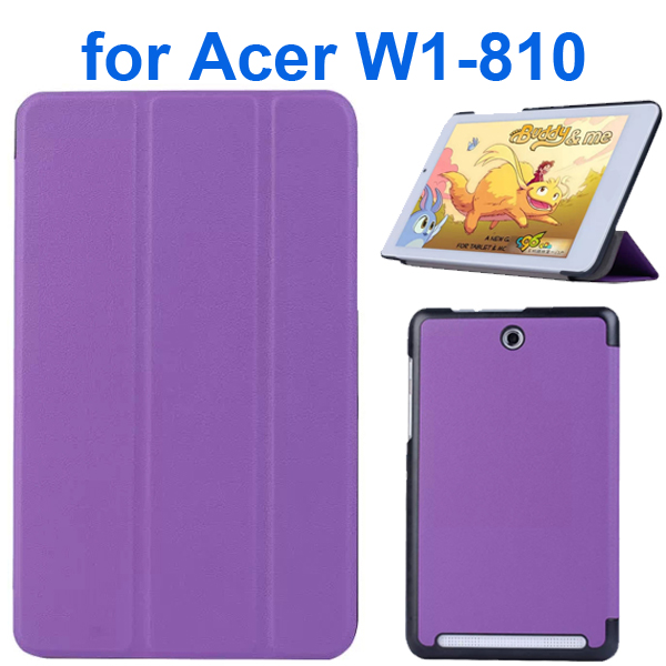 Karst Texture 3 Folding Pattern Flip Leather Case for Acer Iconia Tab 8 W1-810 (Purple)
