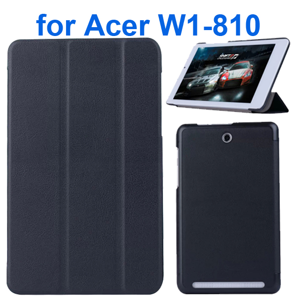 Karst Texture 3 Folding Pattern Flip Leather Case for Acer Iconia Tab 8 W1-810 (Black)