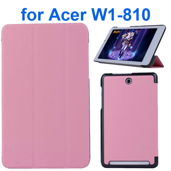 Karst Texture 3 Folding Pattern Flip Leather Case for Acer Iconia Tab 8 W1-810 (Pink)