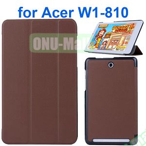 Karst Texture 3 Folding Pattern Flip Leather Case for Acer Iconia Tab 8 W1-810 (Brown)