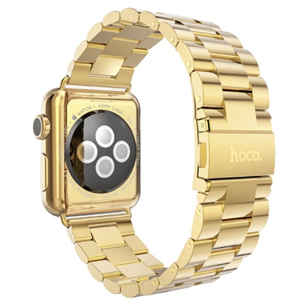 HOCO Stainless Steel Wrist Band with Metal Clasp for Apple Watch 42mm (Golden)