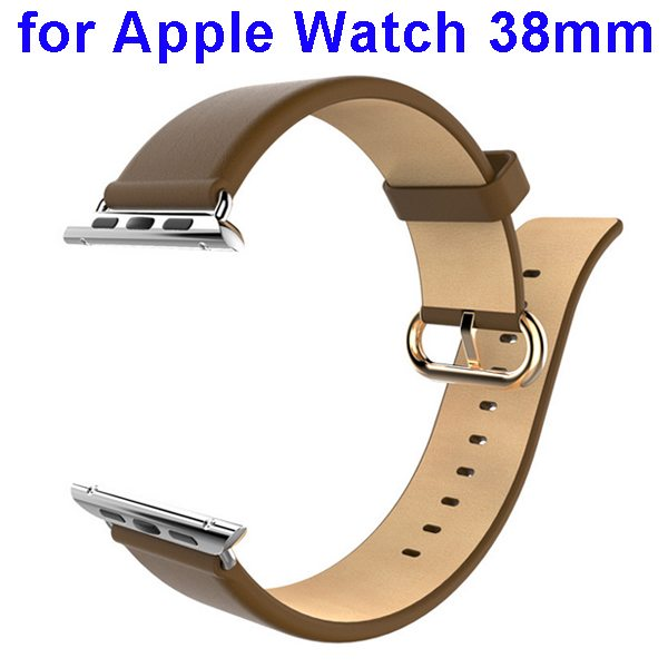 HOCO Genuine Leather Wristband for Apple Watch 38mm with Metal Clasp (Khaki)