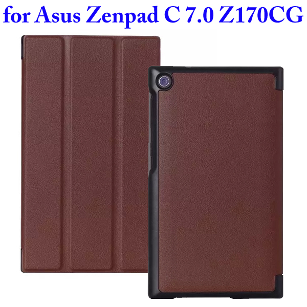 Karst Texture 3 Folding Flip Stand PU Leather Case for Asus ZenPad C 7.0 Z170CG (Brown)
