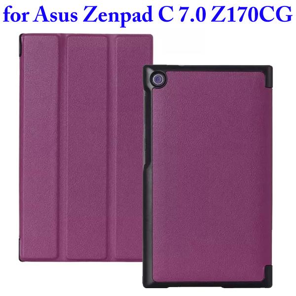 Karst Texture 3 Folding Flip Stand PU Leather Case for Asus ZenPad C 7.0 Z170CG (Purple)