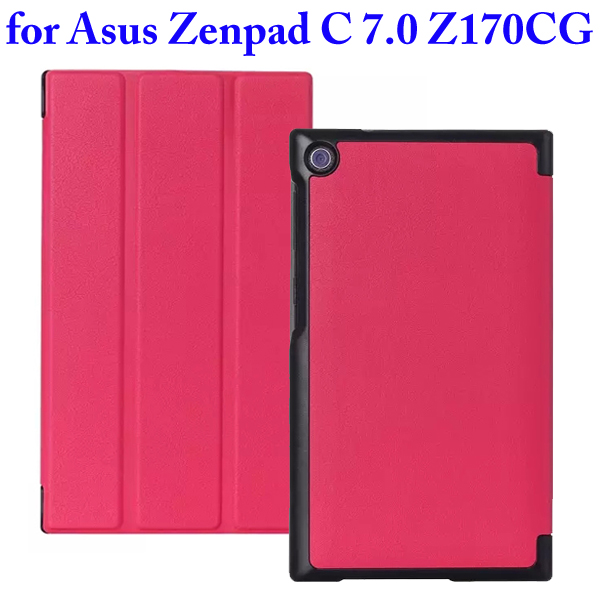 Karst Texture 3 Folding Flip Stand PU Leather Case for Asus ZenPad C 7.0 Z170CG (Rose)