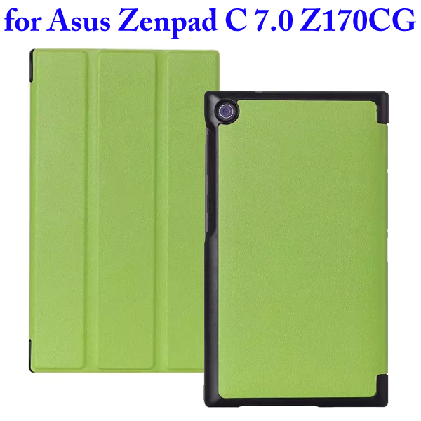 Karst Texture 3 Folding Flip Stand PU Leather Case for Asus ZenPad C 7.0 Z170CG (Green)