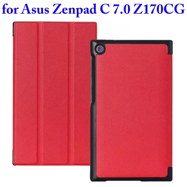 Karst Texture 3 Folding Flip Stand PU Leather Case for Asus ZenPad C 7.0 Z170CG (Red)