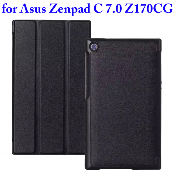 Karst Texture 3 Folding Flip Stand PU Leather Case for Asus ZenPad C 7.0 Z170CG (Black)