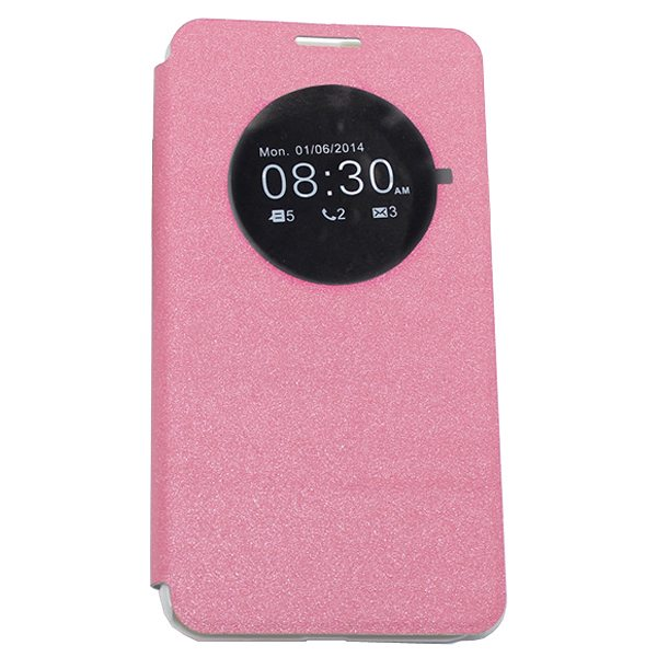 Frosted Pattern Leather Flip Case for Asus ZenFone 2 with Circle View Window (Pink)