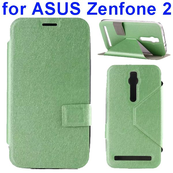 Silk Texture TPU and PU Leather Flip Wallet Case for Asus Zenfone 2 with Card Slots (Green)