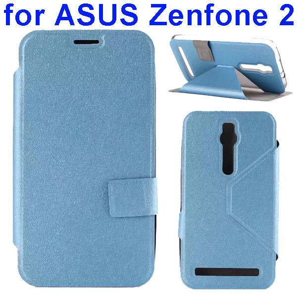 Silk Texture TPU and PU Leather Flip Wallet Case for Asus Zenfone 2 with Card Slots (Blue)