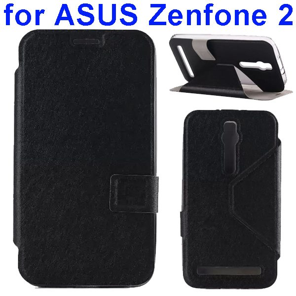 Silk Texture TPU and PU Leather Flip Wallet Case for Asus Zenfone 2 with Card Slots (Black)