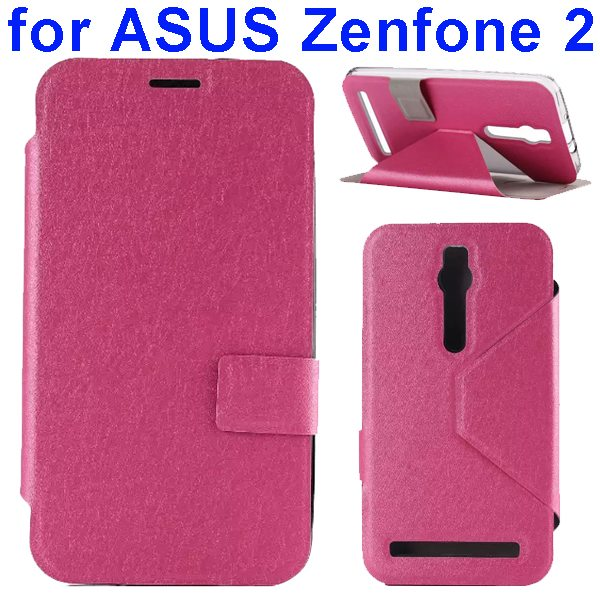 Silk Texture TPU and PU Leather Flip Wallet Case for Asus Zenfone 2 with Card Slots (Rose)