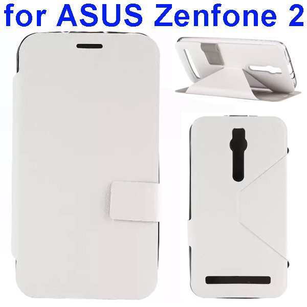 Silk Texture TPU and PU Leather Flip Wallet Case for Asus Zenfone 2 with Card Slots (White)