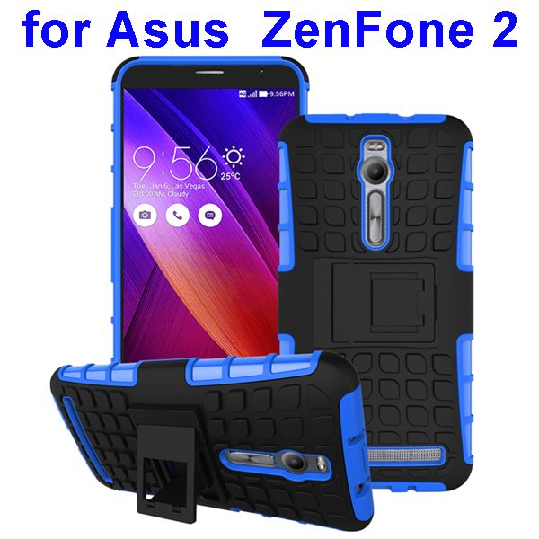 2 in 1 Pattern Shockproof Silicone and PC Hybrid Case Cover for Asus Zenfone 2 (Blue)
