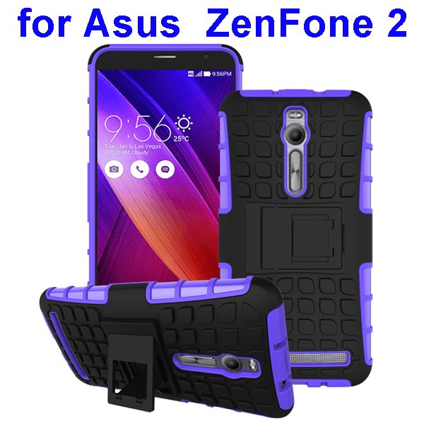 2 in 1 Pattern Shockproof Silicone and PC Hybrid Case Cover for Asus Zenfone 2 (Purple)