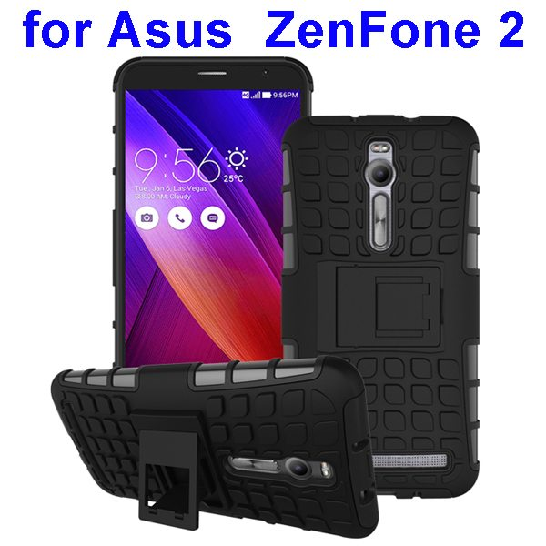 2 in 1 Pattern Shockproof Silicone and PC Hybrid Case Cover for Asus Zenfone 2 (Black)