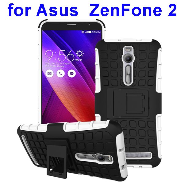 2 in 1 Pattern Shockproof Silicone and PC Hybrid Case Cover for Asus Zenfone 2 (White)