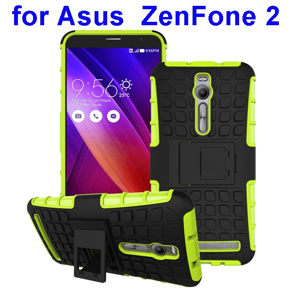2 in 1 Pattern Shockproof Silicone and PC Hybrid Case Cover for Asus Zenfone 2 (Green)