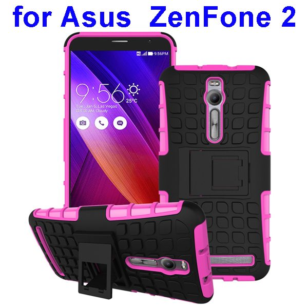 2 in 1 Pattern Shockproof Silicone and PC Hybrid Case Cover for Asus Zenfone 2 (Pink)