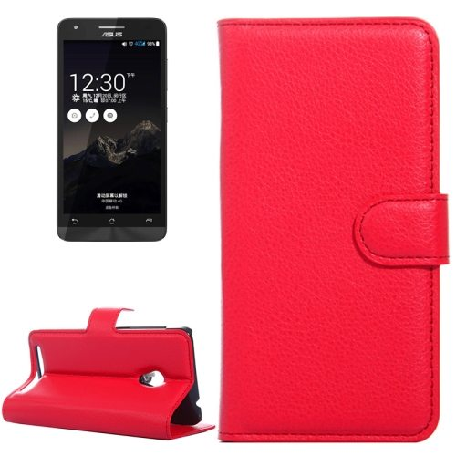Litchi Texture Flip Stand Leather Mobile Phone Case for ASUS ZenFone 4 with Card Slots (Red)