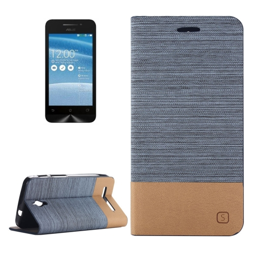 Canvas Leather Wallet Flip Stand Case for ASUS ZenFone C with Card Slot & Stand (Blue)