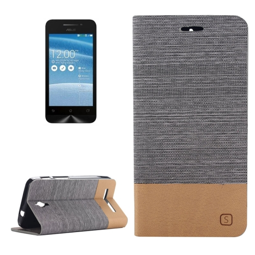 Canvas Leather Wallet Flip Stand Case for ASUS ZenFone C with Card Slot & Stand (Dark Grey)