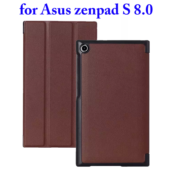 3 Folding Flip Stand PU Leather Case for Asus ZenPad S 8.0 Z580C (Brown)