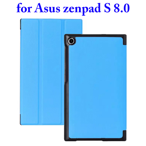 3 Folding Flip Stand PU Leather Case for Asus ZenPad S 8.0 Z580C (Baby Blue)