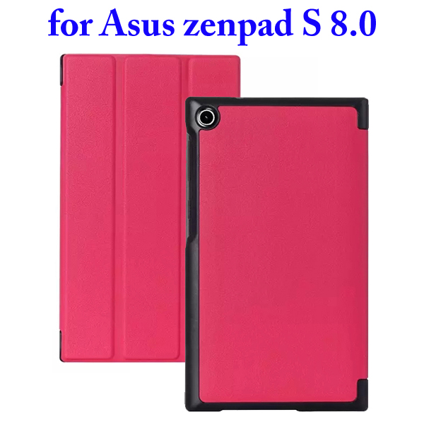 3 Folding Flip Stand PU Leather Case for Asus ZenPad S 8.0 Z580C (Rose)