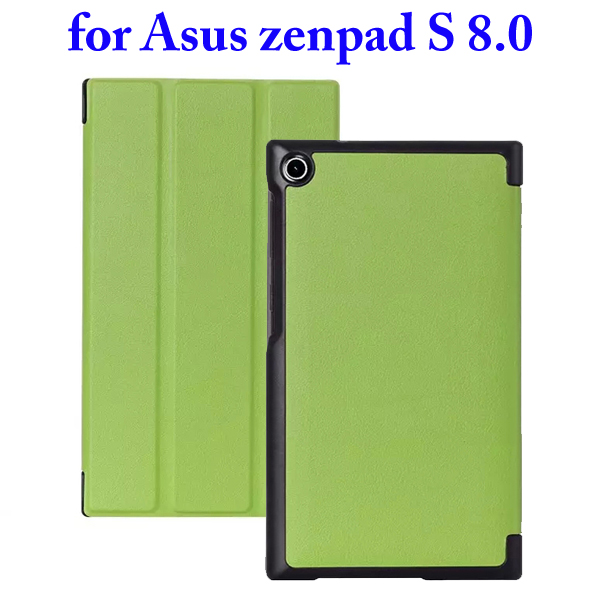 3 Folding Flip Stand PU Leather Case for Asus ZenPad S 8.0 Z580C (Green)