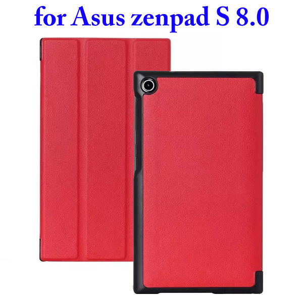 3 Folding Flip Stand PU Leather Case for Asus ZenPad S 8.0 Z580C (Red)