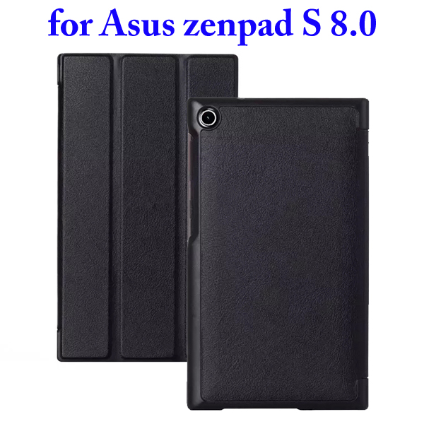 3 Folding Flip Stand PU Leather Case for Asus ZenPad S 8.0 Z580C (Black)