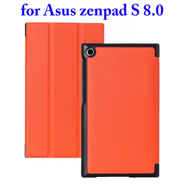 3 Folding Flip Stand PU Leather Case for Asus ZenPad S 8.0 Z580C (Orange)