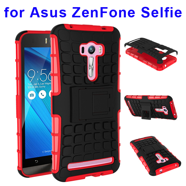 2 In 1 Pattern Belt Clip Rugged Silicone and PC Hybrid Kickstand Case for Asus ZenFone Selfie (Red)