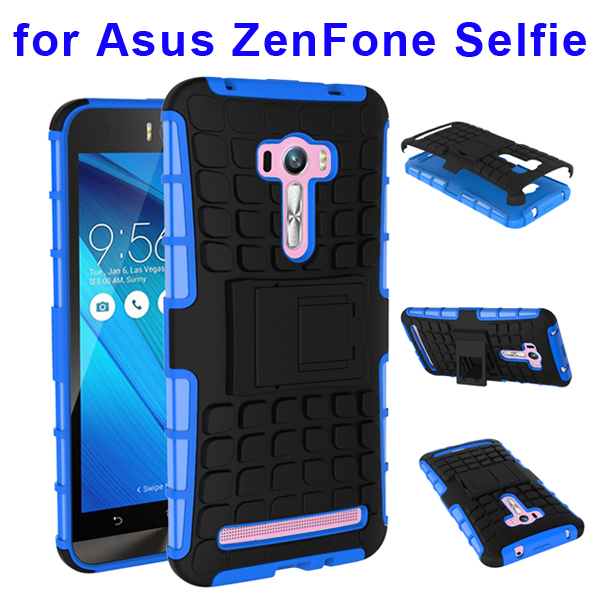 2 In 1 Pattern Belt Clip Rugged Silicone and PC Hybrid Kickstand Case for Asus ZenFone Selfie (Blue)