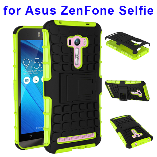 2 In 1 Pattern Belt Clip Rugged Silicone and PC Hybrid Kickstand Case for Asus ZenFone Selfie (Lime)