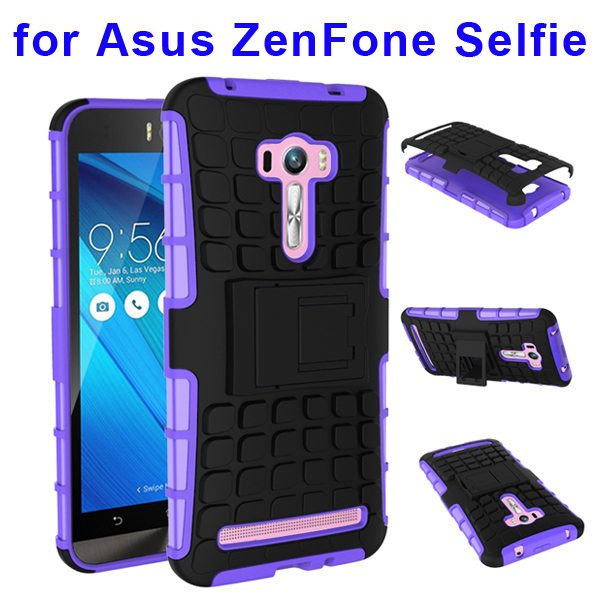 2 In 1 Pattern Belt Clip Rugged Silicone and PC Hybrid Kickstand Case for Asus ZenFone Selfie (Purple)