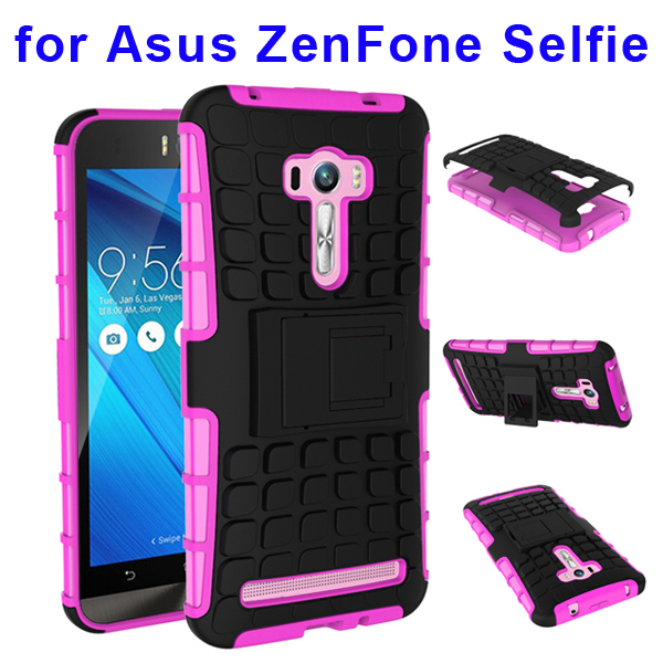 2 In 1 Pattern Belt Clip Rugged Silicone and PC Hybrid Kickstand Case for Asus ZenFone Selfie (Rose)