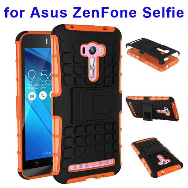 2 In 1 Pattern Belt Clip Rugged Silicone and PC Hybrid Kickstand Case for Asus ZenFone Selfie (Orange)