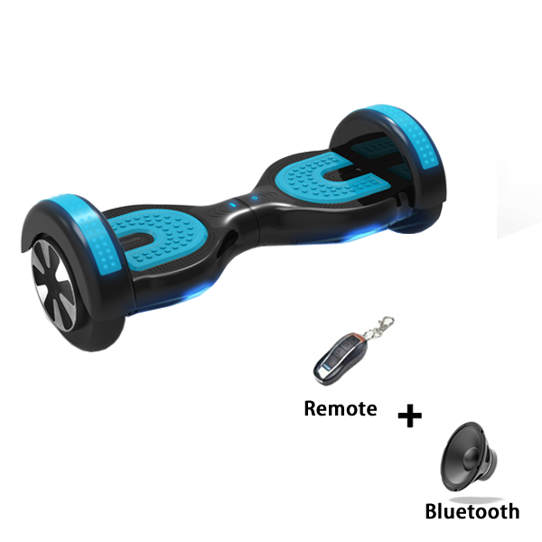 CE RoHS Certified 8 inch Bluetooth and Remote Control Two Wheels Self Balancing Scooters with Horse Race Lamp (Black+Blue)