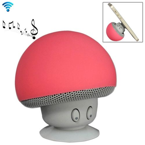 Cute Mushroom Shape Bluetooth Speaker with Suction Holder (Red)