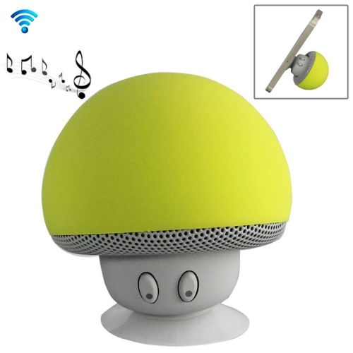 Cute Mushroom Shape Bluetooth Speaker with Suction Holder (Yellow)