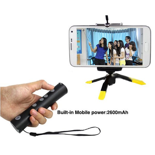 Newest Zoomable Bluetooth Wireless Selfie Stick Monopod with Built-in 2600mAh Power Bank for Mobile Phones