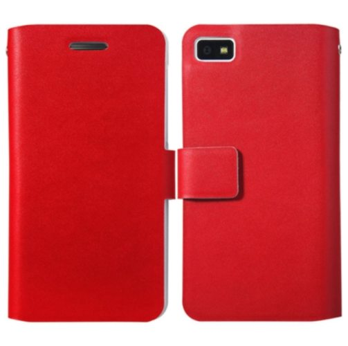 Weave Texture Flip Genuine Leather Cover for BlackBerry Z10 with Card Slots (Red)