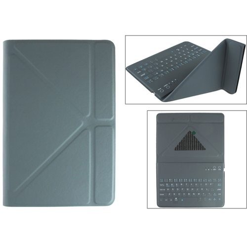 Ultrathin Universal Bluetooth Keyboard for 7.89 Inch Tablet PC with Leather Case and Holder (Gray)
