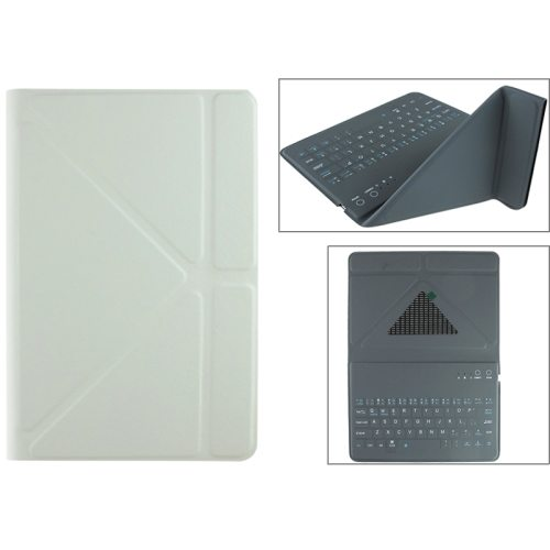 Ultrathin Universal Bluetooth Keyboard for 7.89 Inch Tablet PC with Leather Case and Holder (White)