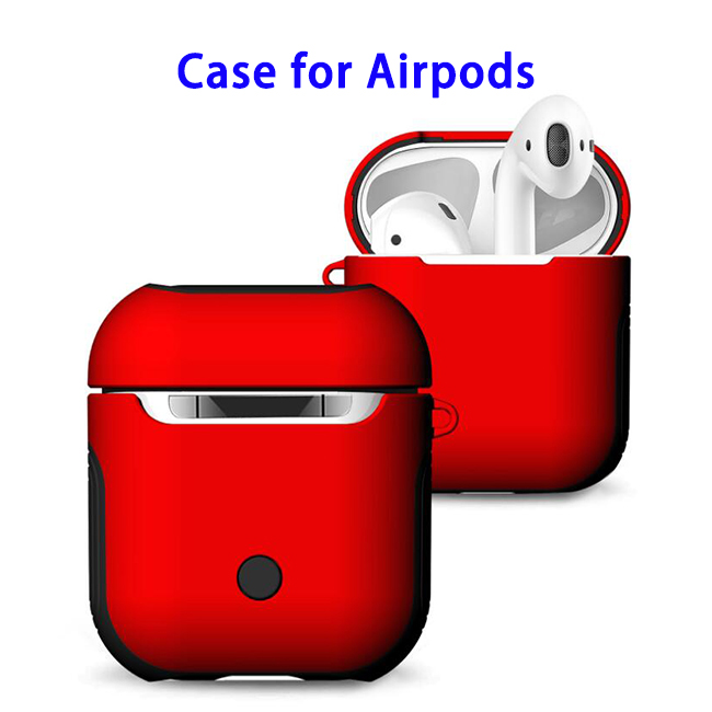 New Trending 2 in 1 TPU+PC Case for AirPods Headphone (Red)